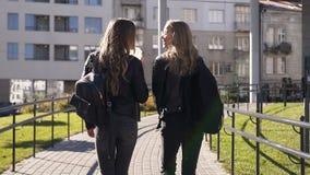 Siktsbaksida av två stilfulla unga flickvänner med långt hår och stilfulla ryggsäckar som går staden och glatt pratar arkivfilmer