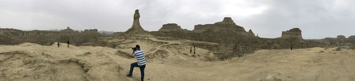 Siktsprinsessa för 360 panorama av hopp och den stora sfinxHingol nationalparken arkivbilder