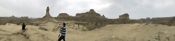 Siktsprinsessa för 360 panorama av hopp och den stora sfinxHingol nationalparken arkivfoto