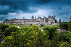 Siktspunkt av Cite de Carcassonne, slott och historisk fästning Frankrike Royaltyfria Bilder