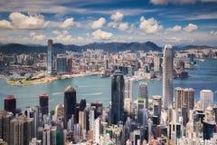 Siktspunkt av den Hong Kong staden och den Kowloon staden uppifrån av vic royaltyfri foto