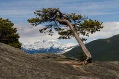 Siktspunkt från klippan ovanför dalen med berg och moln Arkivbilder