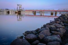 Silêncio da noite no porto de Alborgue Fotos de Stock