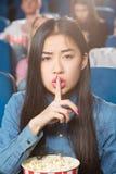 Silêncio no teatro de filme Fotografia de Stock Royalty Free