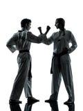 Sil de couples de femme d'homme d'arts martiaux du Taekwondo de karaté images stock