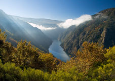Sil river canyon, in Orense, Spain Royalty Free Stock Image