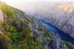 Sil river with high rocky banks. Galicia Royalty Free Stock Photo