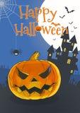 Sila pumpa på den blåa BG-illustrationen för halloween stock illustrationer