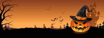 Sila pumpan på det kyrkogårdhalloween banret Arkivbilder