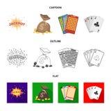 Sila svett, en påse med segrade pengar, kort för att spela Bingo som spelar kort Fastställda samlingssymboler för kasino och för  royaltyfri illustrationer