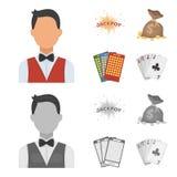 Sila svett, en påse med segrade pengar, kort för att spela Bingo som spelar kort Fastställda samlingssymboler för kasino och för  stock illustrationer