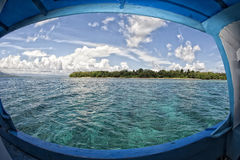 Siladen turquoise tropical paradise island biew through window Stock Images