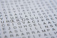 Silbenrätselgehirnharte nuss Wort ` Kunst ` im Kreis Lizenzfreie Stockfotografie