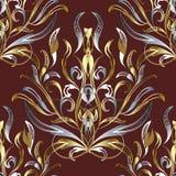 Silber-Damastes des Gold 3d nahtloses Muster Dunkelroter Vektor Blumenb Lizenzfreie Stockfotografie