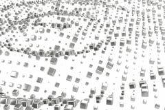 Silber- oder Weißgoldplatin blockiert Würfel über weißem Hintergrund Modellieren der Illustration 3d reiches bitcoin Bergbau des  stock abbildung