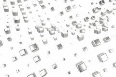 Silber- oder Weißgoldplatin blockiert Würfel über weißem Hintergrund Modellieren der Illustration 3d reiches bitcoin Bergbau des  lizenzfreie abbildung