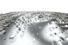 Silber- oder Weißgoldplatin blockiert Würfel über Wellenhintergrund Modellieren der Illustration 3d reiches bitcoin Bergbau des R lizenzfreie abbildung