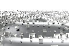 Silber- oder Weißgoldplatin blockiert Würfel über Wellenhintergrund Modellieren der Illustration 3d reiches bitcoin Bergbau des R vektor abbildung