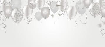 Silber steigt Illustrationskonfettis im ballon auf und Bänder kennzeichnen Celebrati vektor abbildung