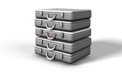 Silber tonte Metallaktenkoffer Stockbild