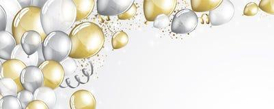 Silber- und Goldballone stock abbildung