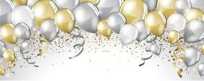 Silber- und Goldballone lizenzfreie abbildung