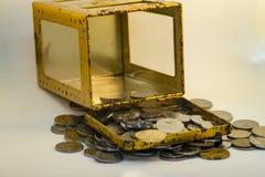 Silber- und Goldfarbe von malaysischen Münzen lizenzfreies stockbild