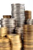 Silber- und Goldmünzen Stockfotos