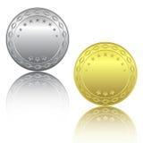 Silber- und Goldmünzen stock abbildung