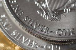 Silber (Wort) auf Silber Eagle Coin Vereinigter Staaten Lizenzfreie Stockfotos