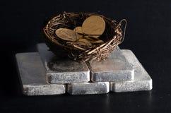 Silberbarren mit Notgroschen des Goldes Eagles Lizenzfreie Stockbilder