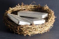 Silberbarren-Notgroschen Stockfotografie