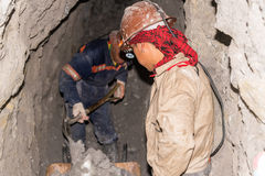 Silberergmänner in Potosi, Bolivien Stockbild