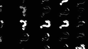 Silberfragekennzeichen, die auf schwarzem Hintergrund, Ungewissheitskonzept sich verschieben animation Einfarbige chaotische Frag vektor abbildung