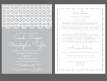 Silberhochzeit-Einladungs-Karten-Einladung mit Verzierungen stock abbildung
