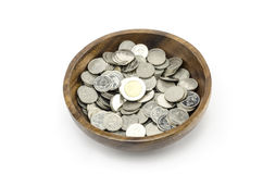 Silbermünze auf Weiß Stockfotos