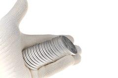 Silbermünze-Investition, eine Unze Troy Stockbild