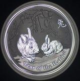 Silbermünze-Jahr Australiens des Kaninchens (Rückseite) Stockbild