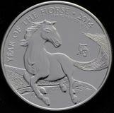 Silbermünze-Jahr Vereinigten Königreichs des Pferds Lizenzfreie Stockfotos