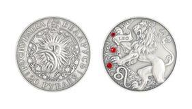 Silbermünze Tierkreiszeichen Löwe stockfoto