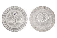 Silbermünze Waage-Weißrusslands stockfoto