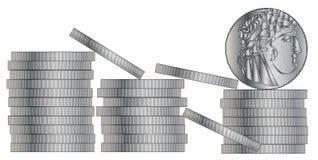 30 Silbermünzen Stockfoto
