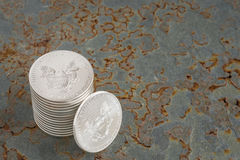 Silbermünzen Stockfotos