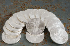 Silbermünzen Lizenzfreie Stockbilder