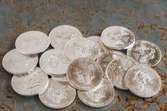 Silbermünzen Stockbild