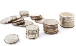 Silbermünzen von Thailand Stockfoto