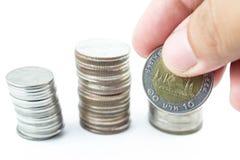 Silbermünzen von Thailand Lizenzfreie Stockbilder