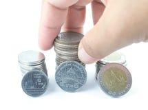 Silbermünzen von Thailand Stockbild