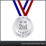 Silbermedaille mit dreifarbigem Band Stockbilder