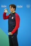 Silbermedaillengewinner Connor Jaeger von Vereinigten Staaten während der Medaillendarstellung am Männer ` s 1500-Meter-Freistil  Lizenzfreies Stockfoto